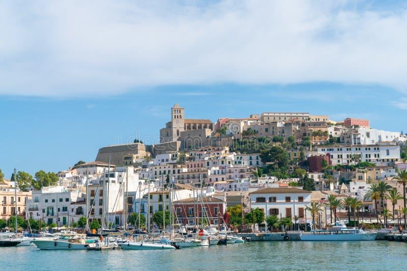 风景Eivissa市视图,西班牙 免版税库存照片