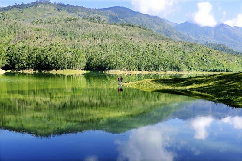 风景Mattupetty湖Munnar 免版税库存图片