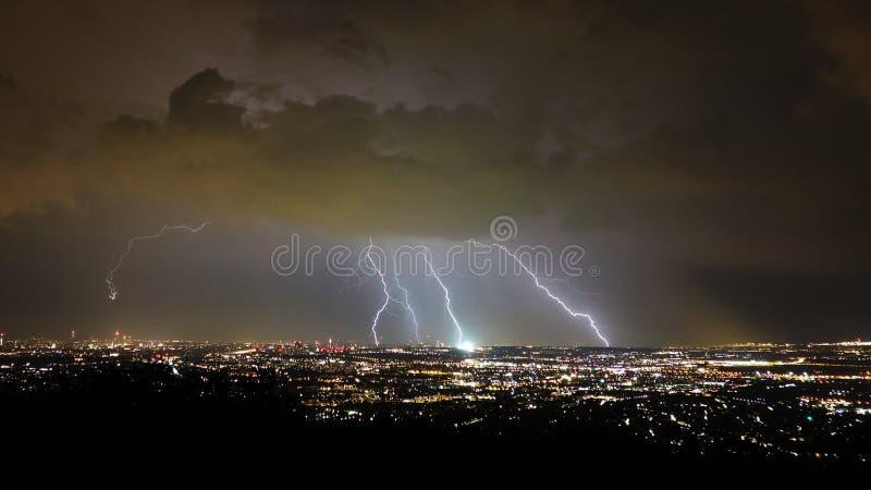 风暴和闪电夜,维也纳市,奥地利 免版税图库摄影