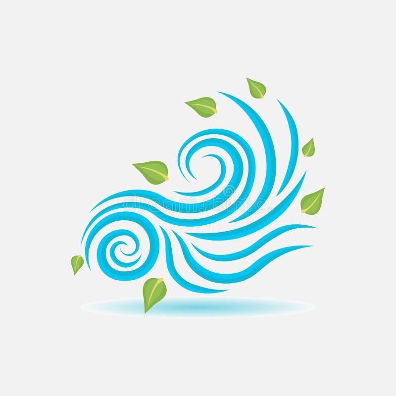 风标志,风吹叶子,平的样式 库存例证