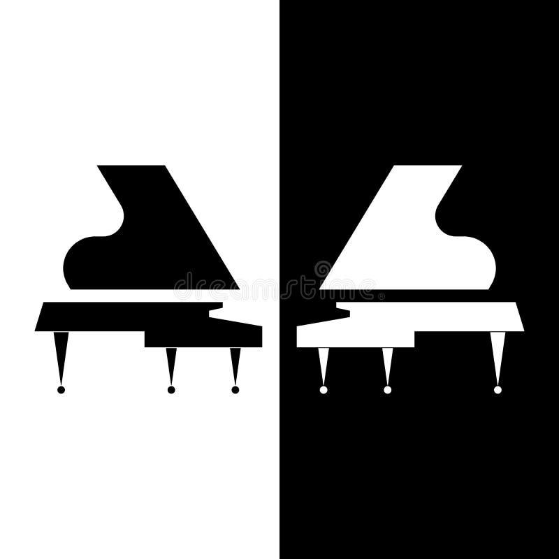 风格化两大平台钢琴 黑白构成 传染媒介平的设计 免版税库存图片