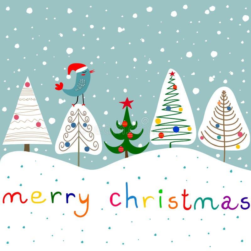 风格化乱画冷杉木装饰品中看不中用的物品星森林降雪逗人喜爱的Kawaii鸟在圣诞老人帽子 背景看板卡祝贺邀请 圣诞节 向量例证