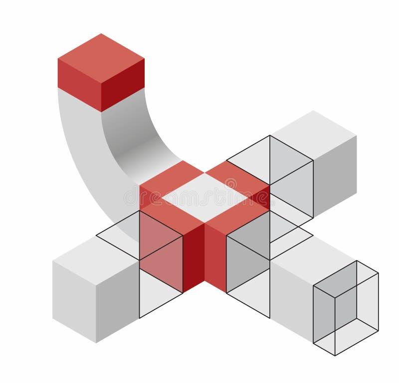 风格化人的图组成由块 几何抽象的图 皇族释放例证