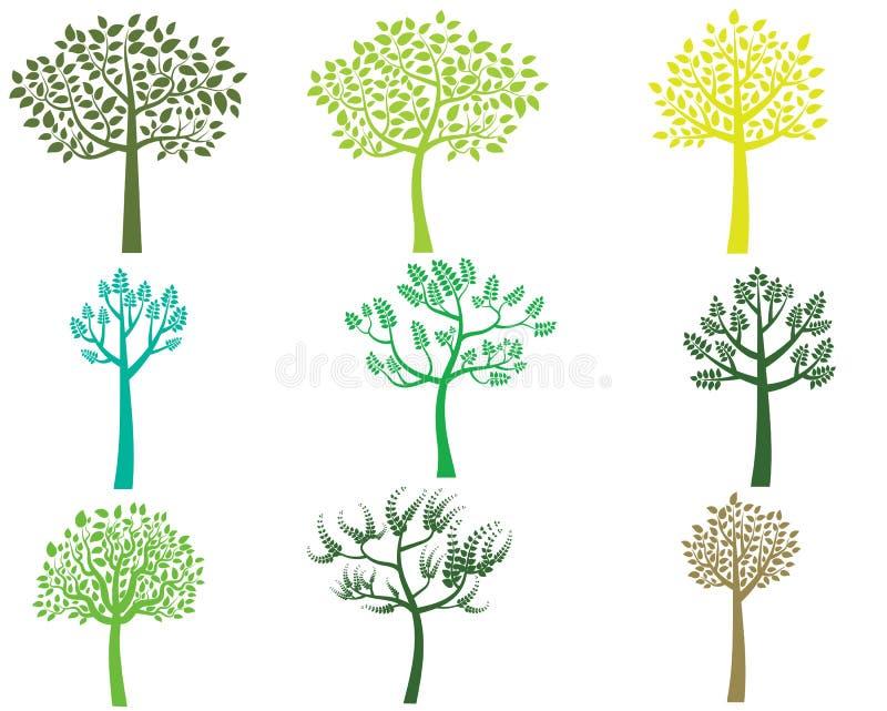 风格化传染媒介绿色树剪影 向量例证