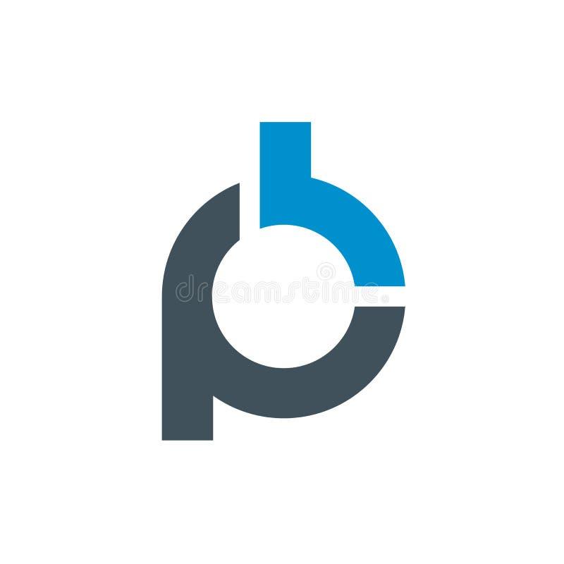 风格化信件P和B商标  干净和简单的商标 皇族释放例证