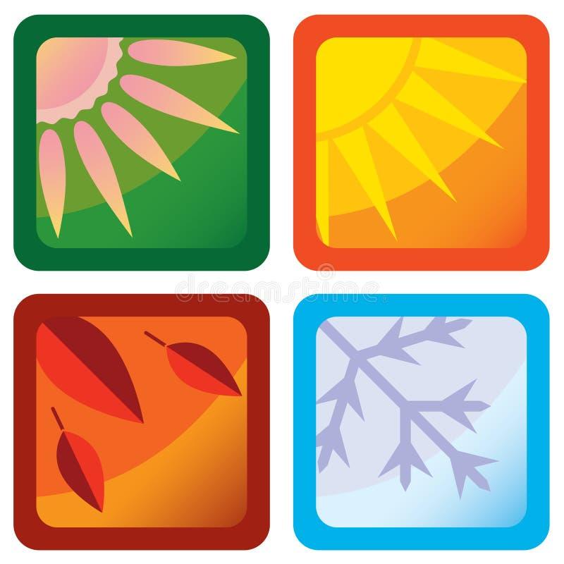 风格化四个季节图标 皇族释放例证
