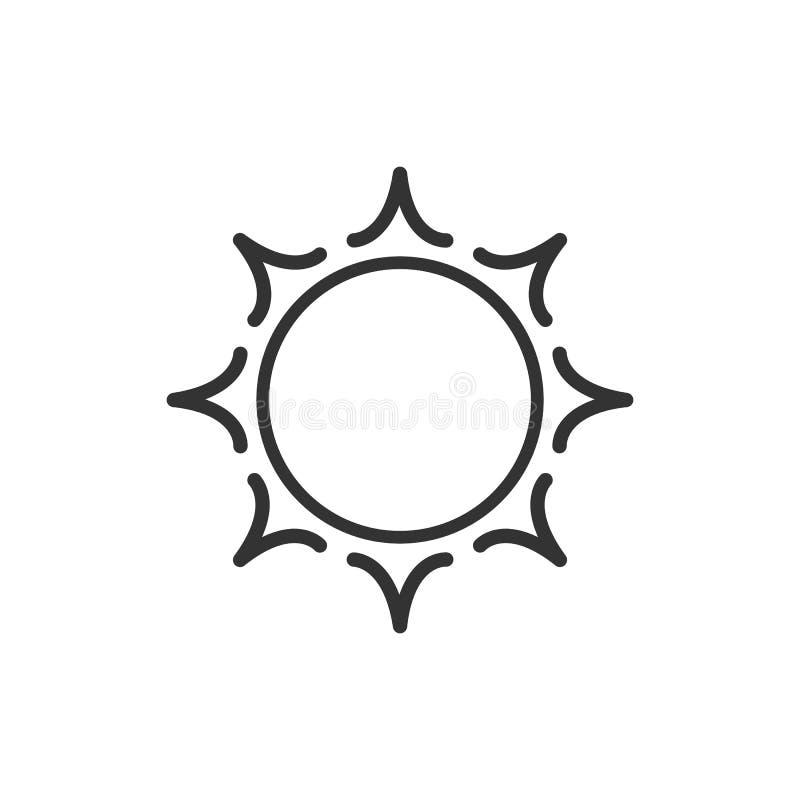 风格化太阳商标 线太阳,花象  在白色背景的黑概述商标 向量例证