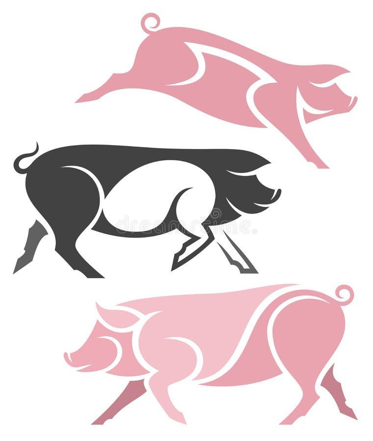 风格化家养的猪 向量例证