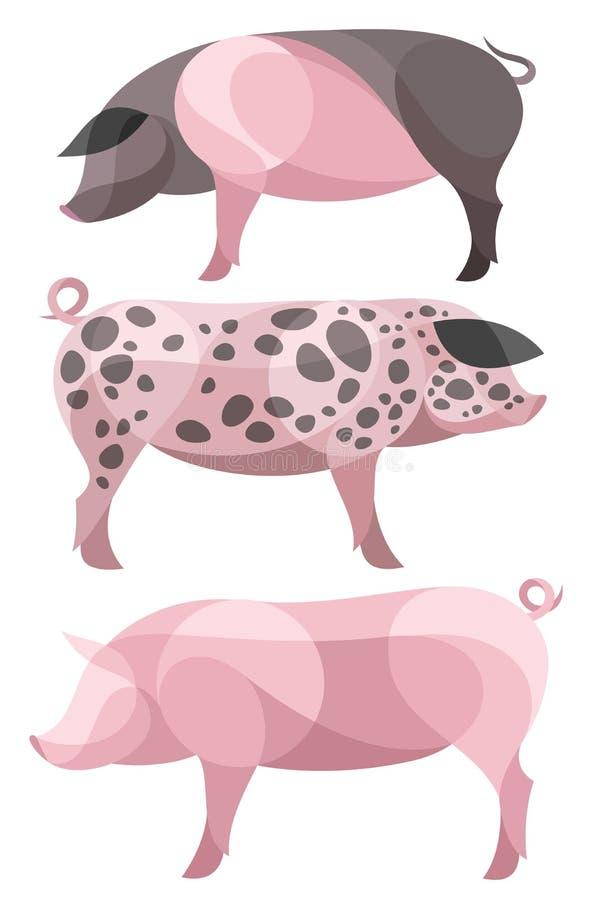 风格化家养的猪 库存例证