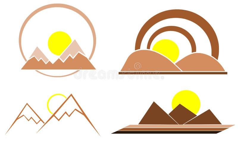 风格化山以绿色 向量例证