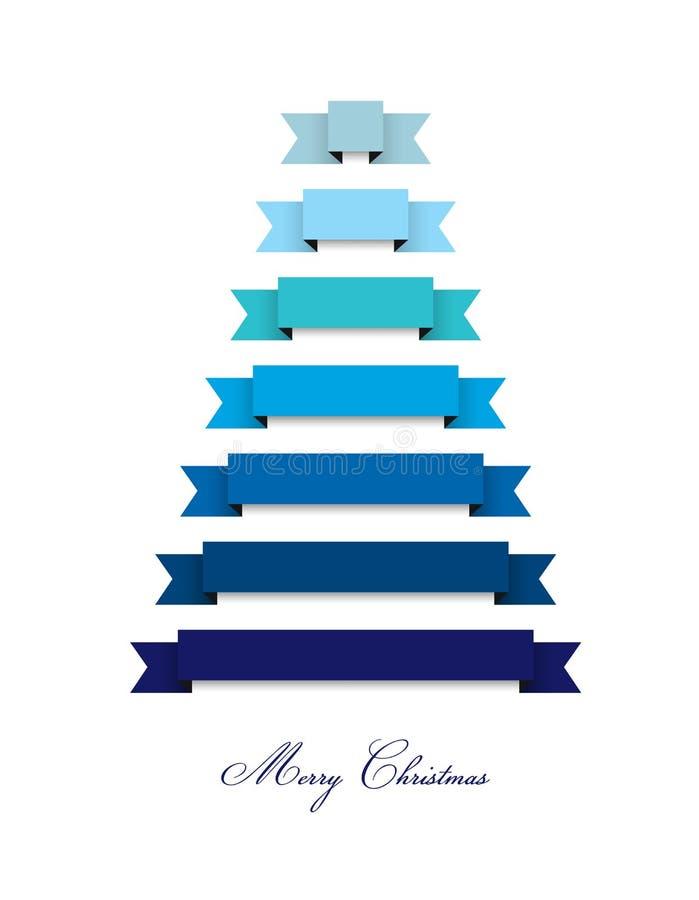 风格化平的现代圣诞树2015年 丝带装饰 向量例证
