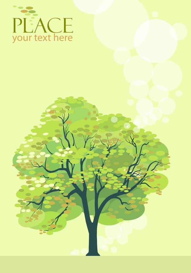 风格化抽象橄榄绿结构树的背景- 向量例证