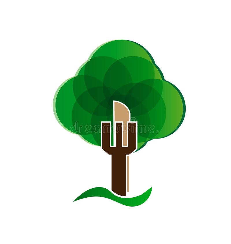风格化抽象绿色树传染媒介商标 库存例证