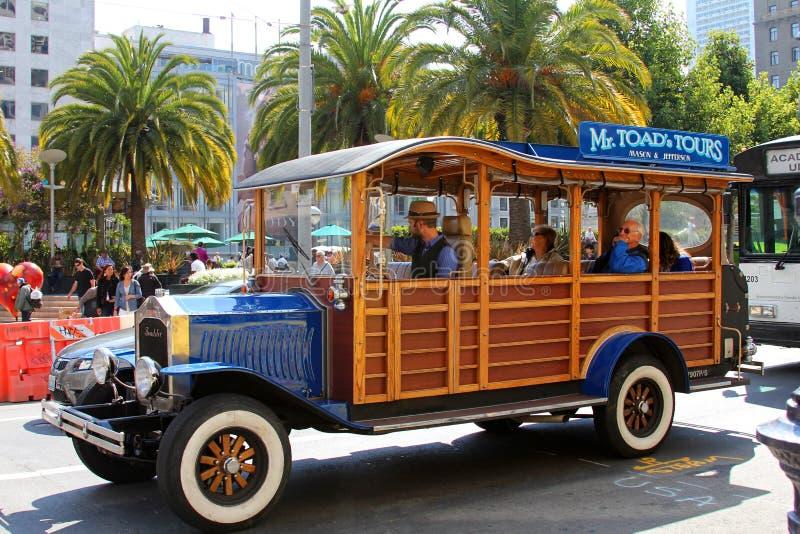 风格化旅游汽车在旧金山 免版税库存照片