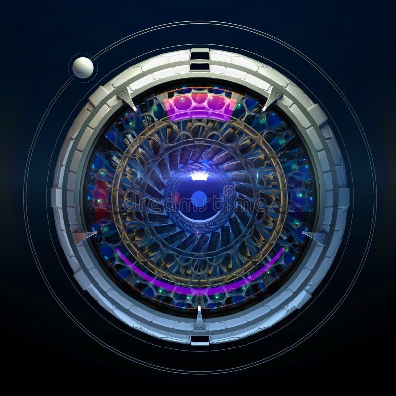 风格化机器人眼睛3d回报 图象识别机视觉神经网络深刻的学习的概念例证 库存例证
