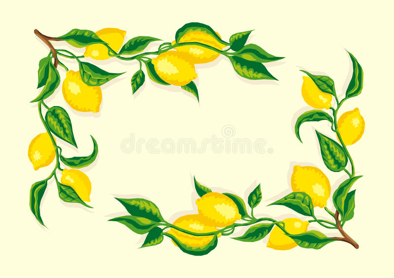 风格化柠檬分行角落框架 向量例证