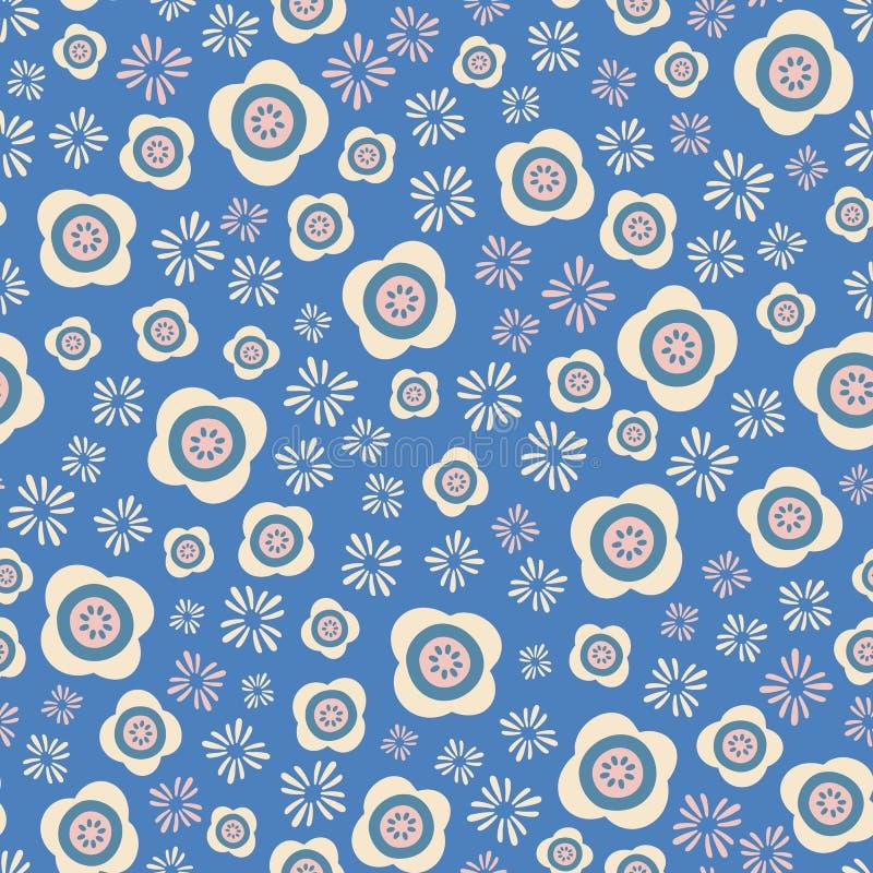 风格化桃红色和奶油色花在蓝色背景在一个被扔的无缝的样式 俏丽的夏天花卉传染媒介设计 皇族释放例证