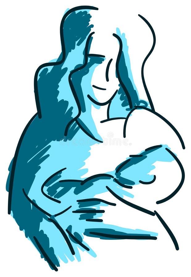 风格化母亲和儿子蓝色口气的被隔绝 皇族释放例证