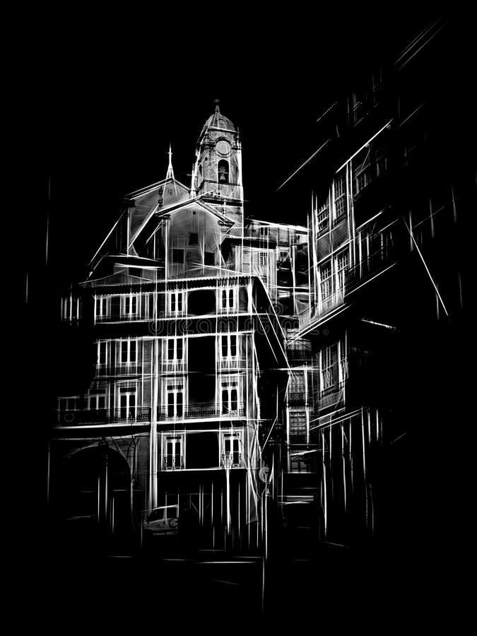风格化波尔图典型的建筑学 皇族释放例证