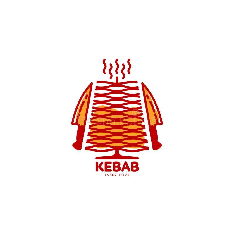 风格化热,新近地烤土耳其doner kebab, shawarma商标模板 库存例证