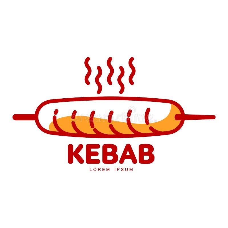 风格化热,新近地烤土耳其kebab商标模板 皇族释放例证
