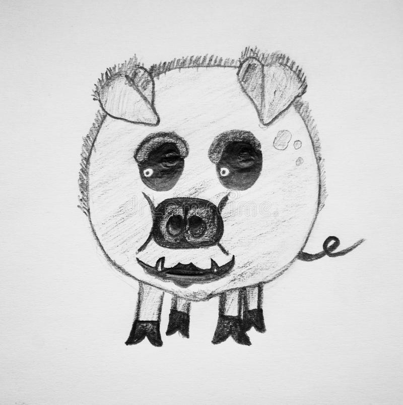 风格化猪宠物 向量例证