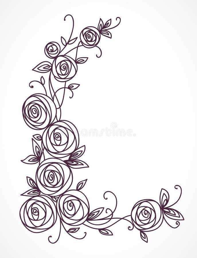 风格化玫瑰色花花束 交织的花和的叶子分支  壁角装饰构成 库存例证
