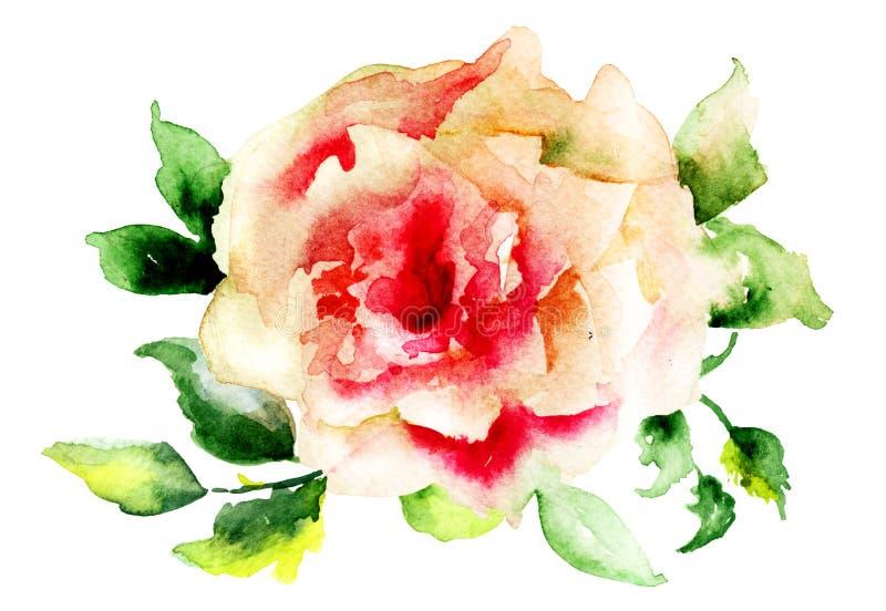 风格化玫瑰色花 向量例证
