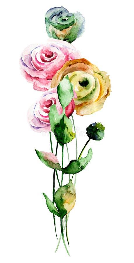 风格化玫瑰花 皇族释放例证