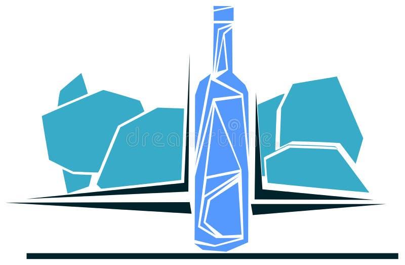 风格化瓶在蓝色的酒 向量例证