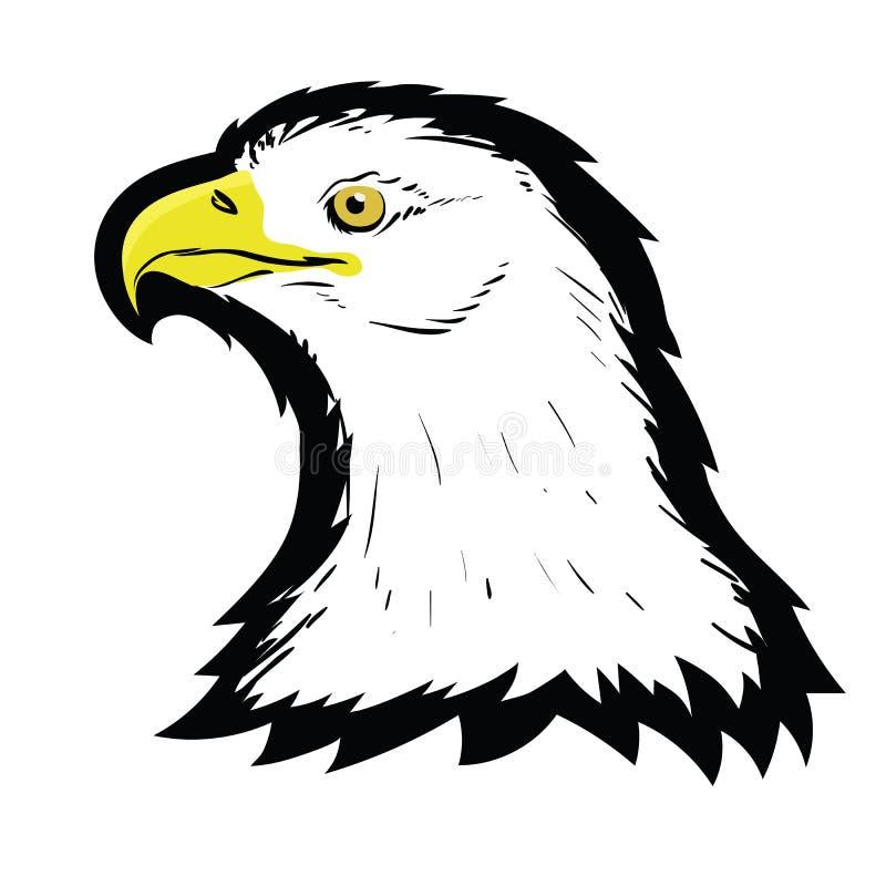 风格化白色美国北部白头鹰顶头纹身花刺设计 商标牺牲者鸟 食肉动物的鹰吉祥人 自由的标志 库存例证