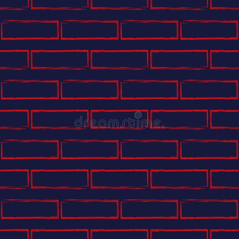 风格化砖墙的无缝的样式,红色在藏青色 皇族释放例证