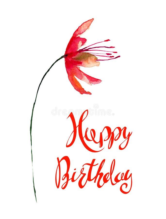 风格化红色花与标题生日快乐 库存例证