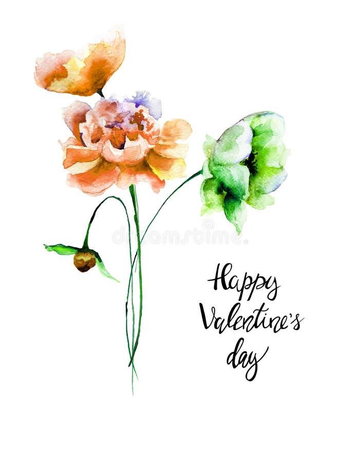 风格化花与标题愉快的Valentine's天 库存例证