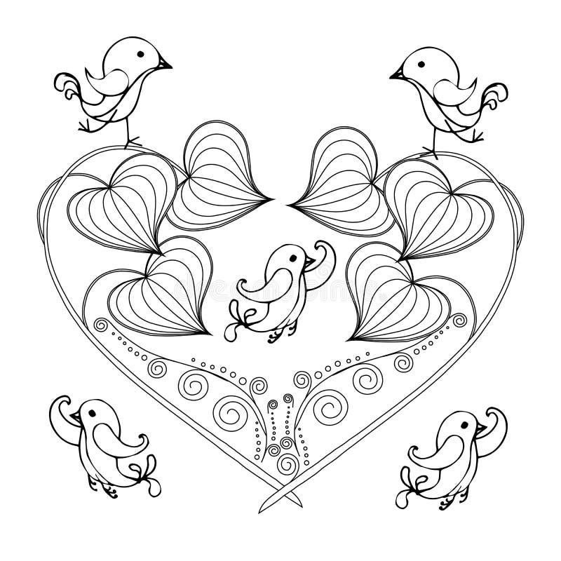 风格化花卉单色心脏,鸟,剪影,设计元素股票印刷品的传染媒介例证 库存例证