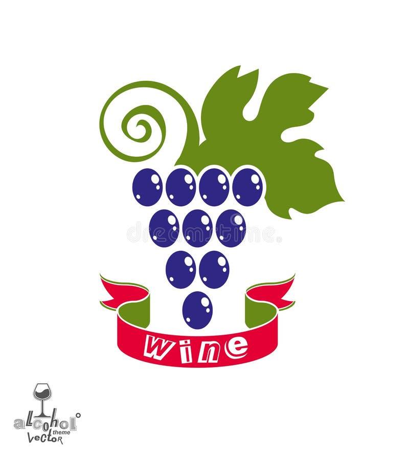 风格化葡萄树传染媒介例证 酿酒厂标志最佳为 向量例证