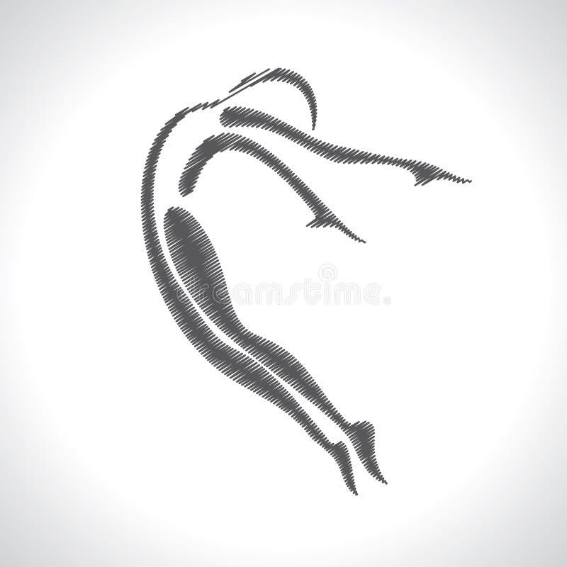 风格化速写的瑜伽姿势 向量例证
