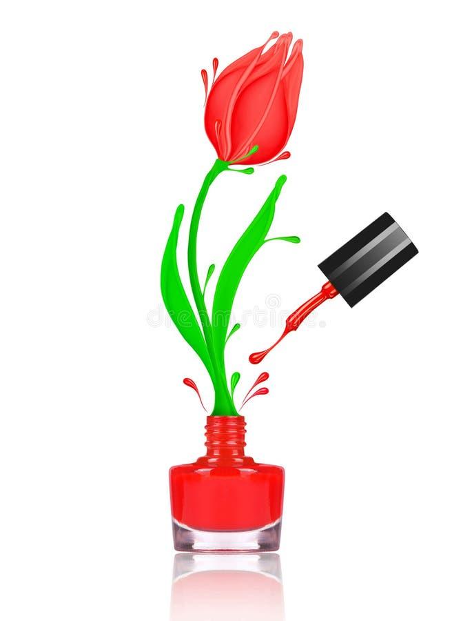 风格化郁金香花做与飞溅红色指甲油 向量例证