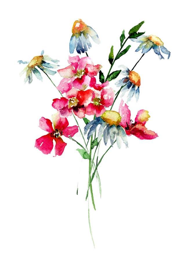 风格化野花 向量例证