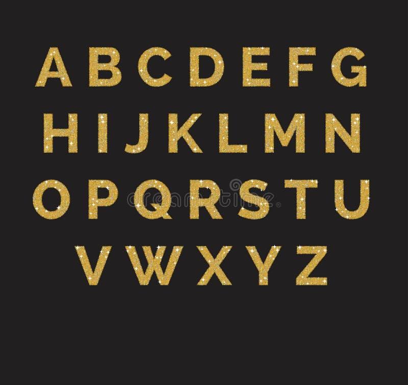 风格化闪耀的金黄闪烁花梢拉丁abc字母表 使用信件做您自己的文本 向量例证