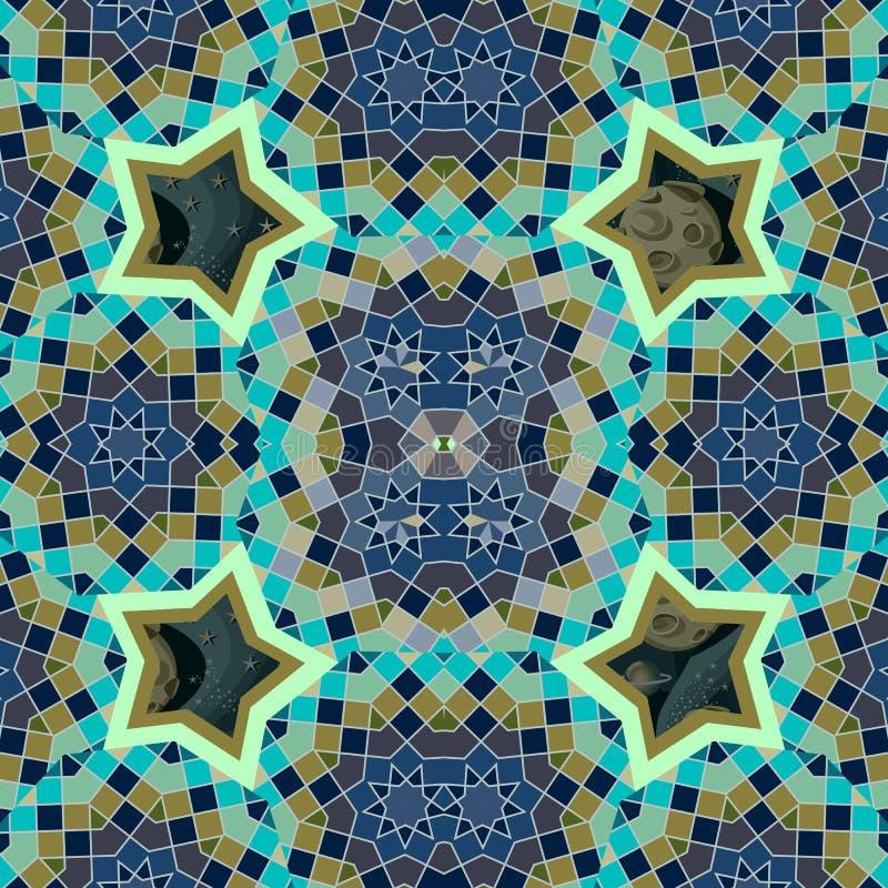 风格化阿拉伯与神圣的几何图的酋长管辖区无缝的样式和宇宙星、行星和月亮在绿色和深蓝 皇族释放例证
