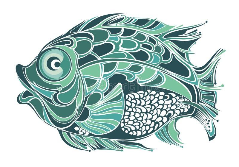 风格化鱼 库存例证