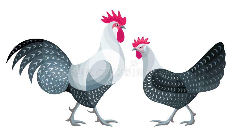 风格化鸡-传染媒介例证 库存照片