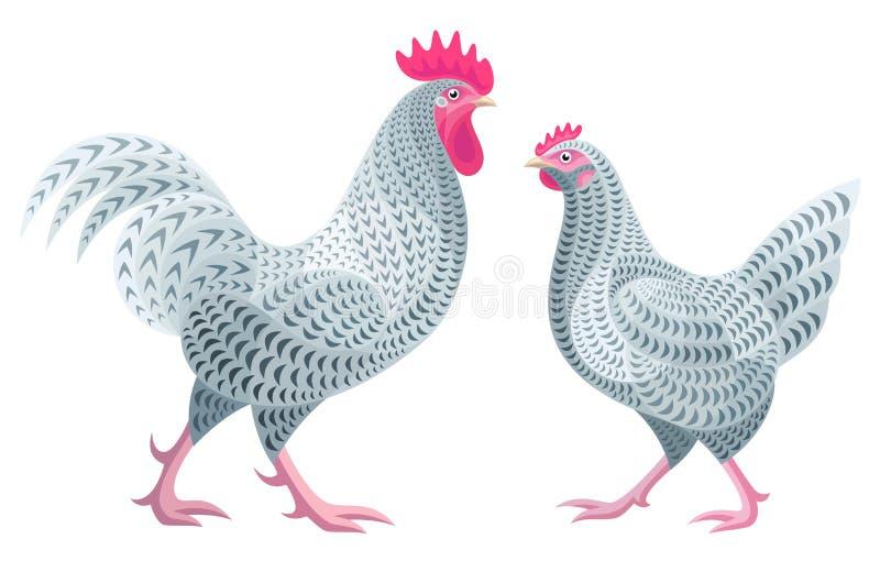 风格化鸡-雄鸡和母鸡 向量例证