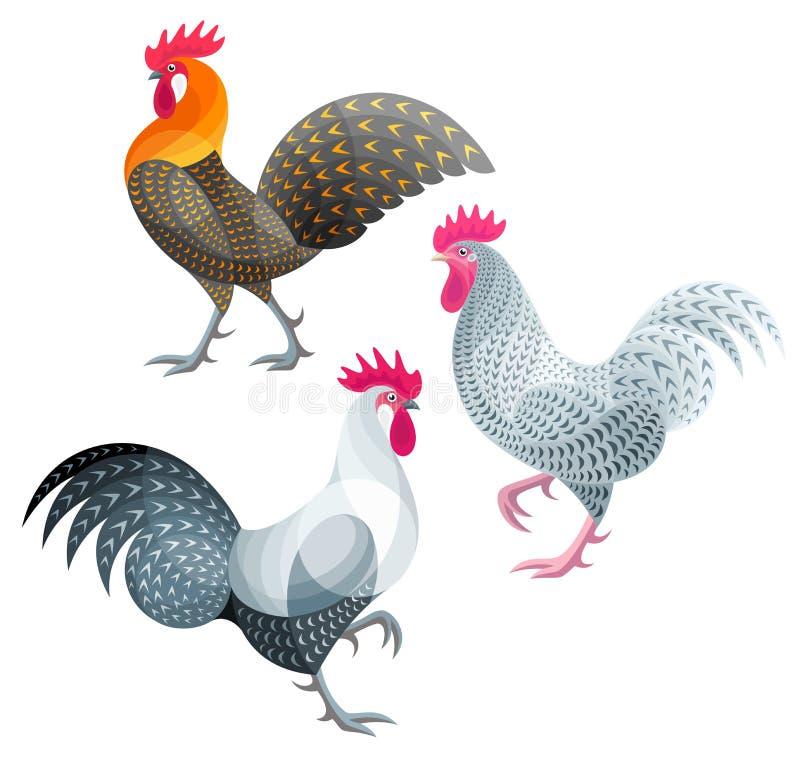 风格化鸡-雄鸡 向量例证