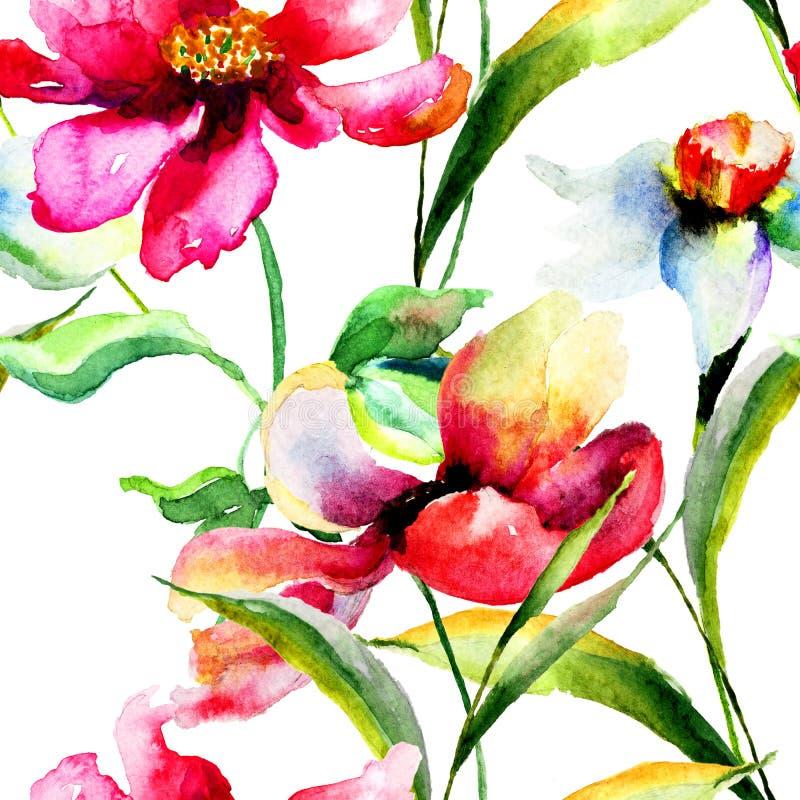 风格化鸦片和水仙花例证 向量例证