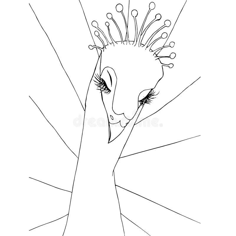 风格化黑白手拉的天堂鸟,反重音股票传染媒介例证 皇族释放例证