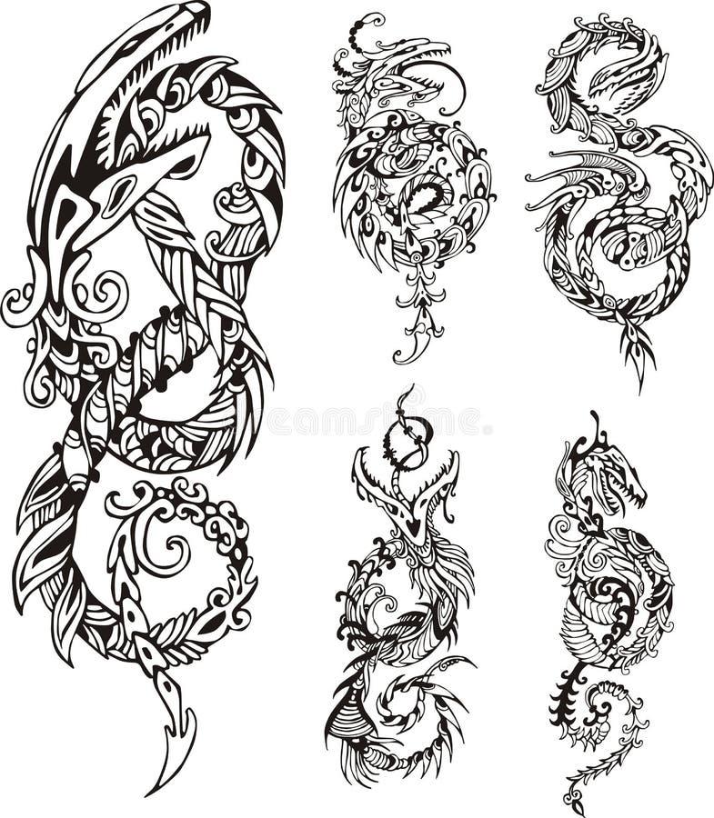 风格化龙结纹身花刺 库存例证