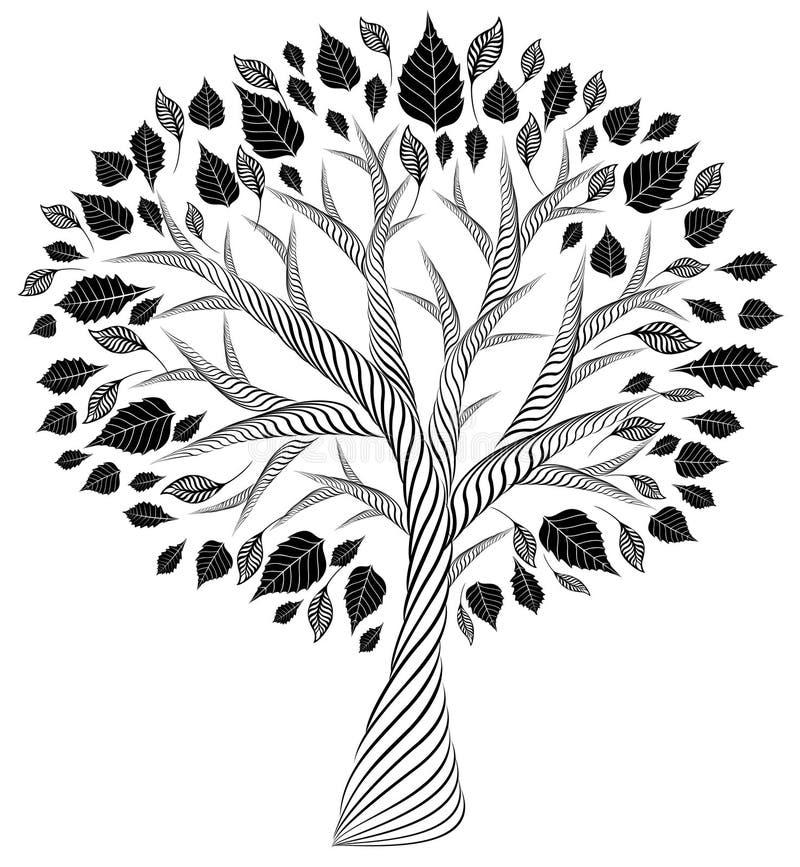 风格化结构树 背景图画铅笔结构树白色 剪影 形象艺术 皇族释放例证
