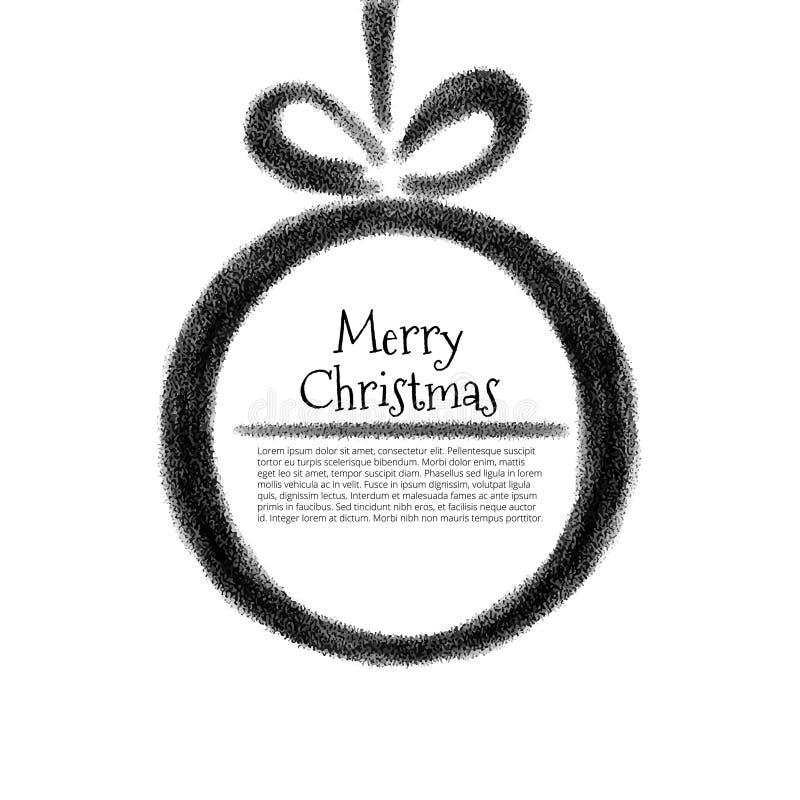 风格化黑&白色水彩圣诞节球 库存例证